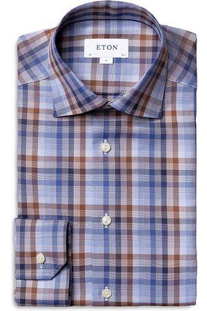 Eton Plaid Business Casual Slim Fit Dress Shirt