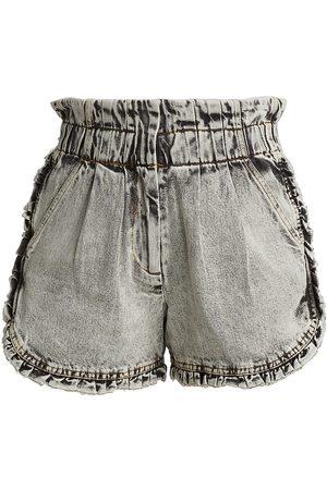 SEA Women's Dax Acid Wash Denim Ruffle Shorts - - Size 4
