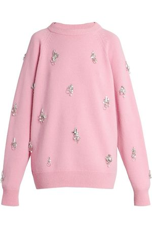 Givenchy Women's Embellished Wool & Cashmere Knit Sweater - Candy - Size Large