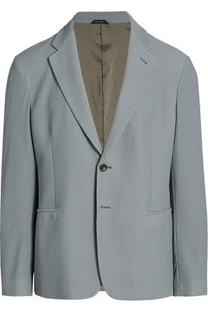 Armani Men's Solid Honeycomb Textured Blazer - Grey - Size 46