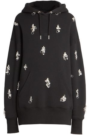 Givenchy Women's Oversized Embellished Hoodie - Grey - Size XS