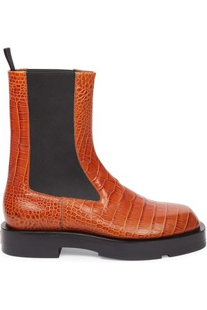 Givenchy Men's Show Croc-Embossed Leather Chelsea Boots - Tan - Size 9