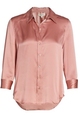 L'Agence Women's Dani Three-Quarter Sleeve Silk Blouse - Rose Tan - Size Large