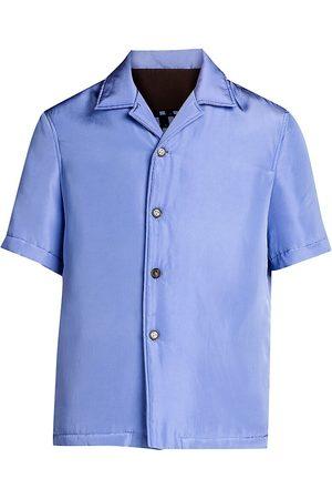 Bottega Veneta Men's Graphic-Print Back Short-Sleeve Shirt - Periwinkle - Size 42