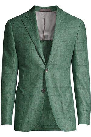 corneliani Men's Gate Windowpane Check Silk Sport Jacket - Sage - Size 54