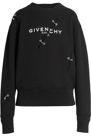 Givenchy Women's Distressed Logo Crewneck Sweatshirt - - Size Large