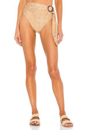 Minkpink Davina High Belted Bikini Bottoms in Neutral.