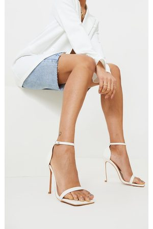 PRETTYLITTLETHING Women Sandals - Clover Barely There Strappy Squared Toe Heeled Sandals