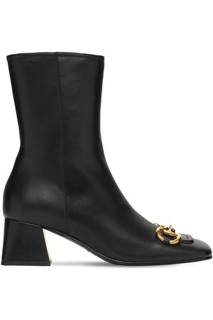 Gucci Women Ankle Boots - 55mm Leather Ankle Boots W/ Horsebit
