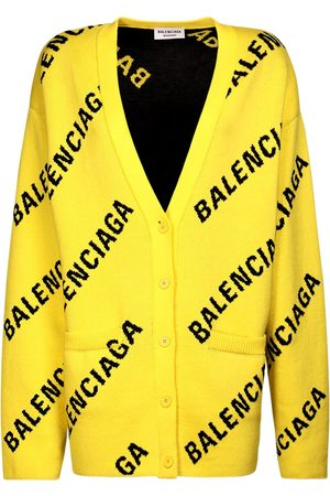 Balenciaga Logo Cotton Blend Knit V Neck Cardigan