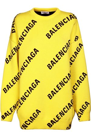 Balenciaga Women Sweaters - Logo Cotton Blend Knit Crewneck Sweater