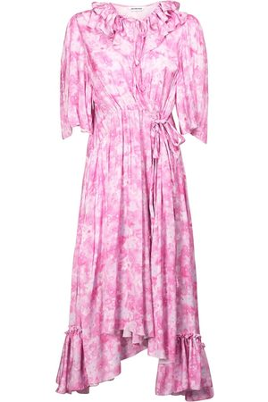 Balenciaga Women Printed Dresses - Printed Satin Wrap Dress W/ Ruffles