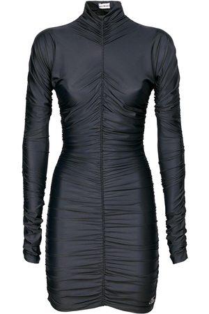 Balenciaga Women Party Dresses - Draped Spandex Turtleneck Mini Dress