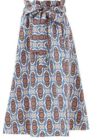 La DoubleJ Women Printed Skirts - Sardegna Amalfi-print Cotton-poplin Skirt - Womens - Multi