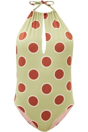 Cala De La Cruz Chiara Halterneck Polka-dot Swimsuit - Womens - Multi