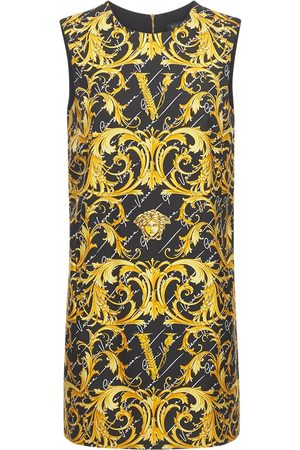 VERSACE Printed Silk Twill Tunic Dress