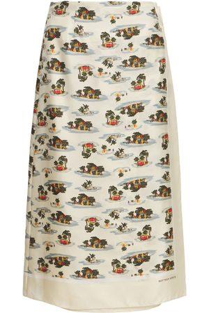 Bottega Veneta Hawaiian Printed Silk Twill Skirt
