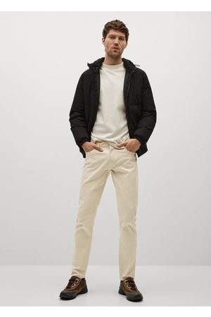 MANGO Slim fit denim-effect serge pants /pastel grey