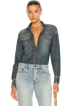 Saint Laurent Women Denim - Classic Western Shirt in Denim-Medium