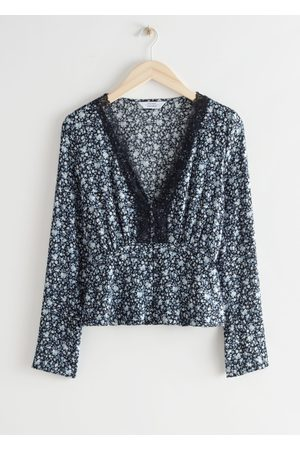 & OTHER STORIES Women Tops - Buttoned Floral Print Lace Top