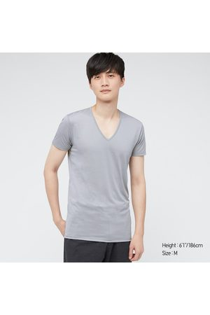 UNIQLO Men Short Sleeve - Men's Airism V-Neck Short-Sleeve T-Shirt, Gray, XS