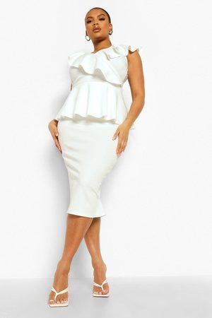 Boohoo Womens Plus Occasion Ruffle Peplum Midi Dress - - 12