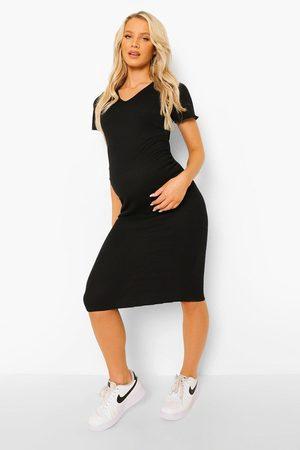 Boohoo Womens Maternity Lettuce Edge V-Neck Bodycon Dress - - 12