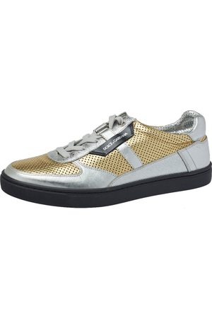 Dolce & Gabbana Metallic /Silver Perforated Leather Low Top Sneakers Size 42