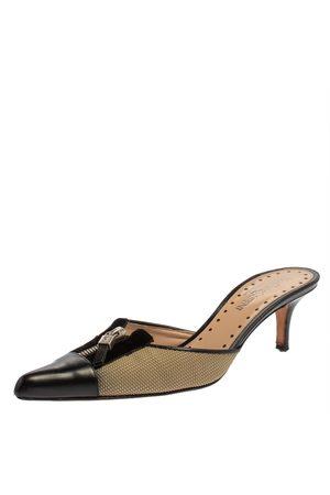 Saint Laurent Saint Laurent /Black Canvas And Leather Pointed Toe Mules Size 38