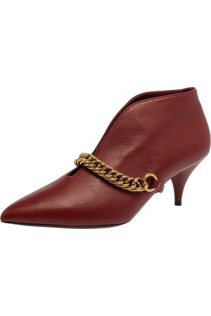Burberry Burgundy Leather Bronwen Chain Embellished Pointed Toe Ankle Booties Size 37