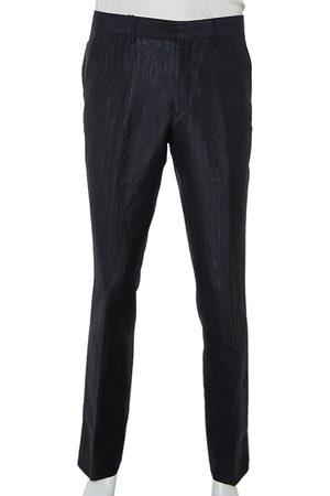 Burberry Men Straight Leg Pants - Navy Mohair & Linen Straight Leg Pants M