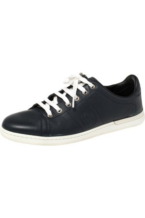 Gucci Navy Leather Low Top Sneakers Size 37.5