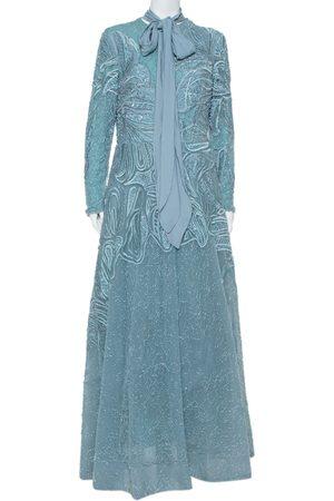 Elie saab Sequin Embellished Tulle Neck Tie Detail Evening Gown L