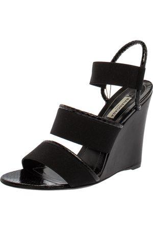 Balenciaga Elastic And Python Wedge Slingback Sandals Size 41