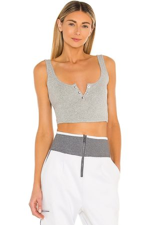Free People X FP Movement Luxe Rib Snap Tank in Light Grey.