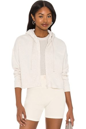 WSLY The Ecosoft Cropped Zip Up Hoodie in Neutral.