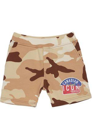 Dsquared2 Camouflage Print Cotton Sweat Shorts