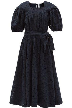 Merlette Agustin Square-neck Cotton Sun Dress - Womens - Navy