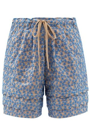 Kika Vargas Floral-embroidered Cotton-blend Voile Shorts - Womens - Multi