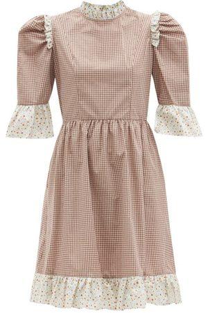 BATSHEVA Gingham-check Ruffled Cotton-twill Dress - Womens - Multi