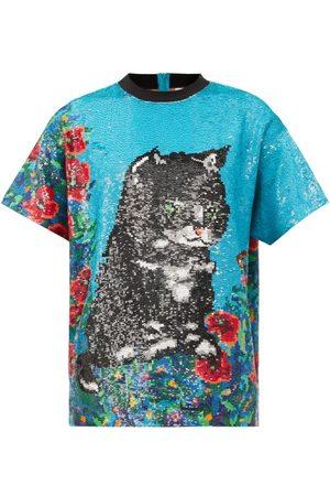 ASHISH Women T-shirts - Cat-sequinned Cotton-muslin T-shirt - Womens - Multi