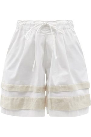 Kika Vargas Gloria Linen-panel Cotton-blend Shorts - Womens