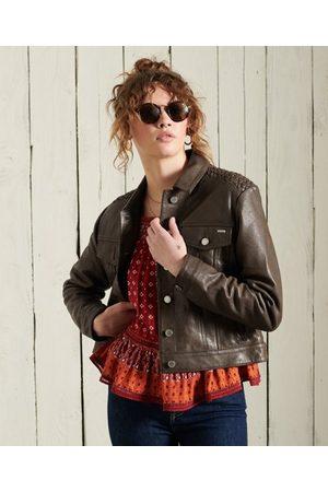 Superdry Leather Stateside Trucker Jacket