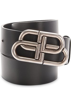 Balenciaga Men Belts - Men's Logo Buckle Leather Belt