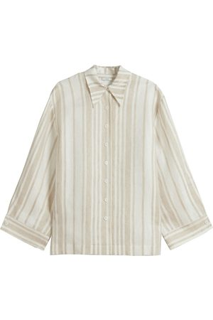 CO Women's Classic Button Front Blouse - Taupe Stripe - Size Large