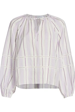 TANYA TAYLOR Women's Janey Stripe Peasant Blouse - Orchid Multi Stripe - Size Large