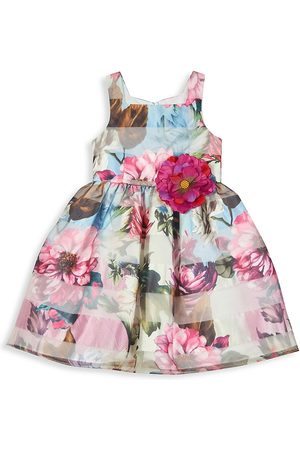 Pippa & Julie Girl's Floral Shadow Striped Dress - Burgundy - Size 12