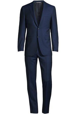 CANALI Men's Grid Jacquard Wool Suit - - Size 46