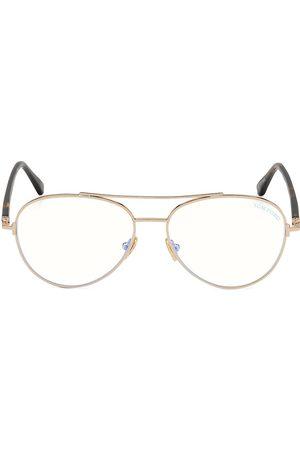 Tom Ford Men's 55MM Round Block Optical Glasses - Shiny Rose Lens