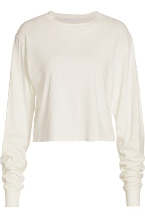 JOHN ELLIOTT Women's Jersey Crop Long-Sleeve T-Shirt - Chalk - Size Large